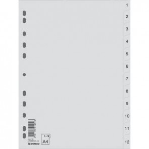 Przekładki A4 PP szare DONAU 1-12