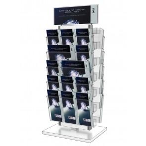 Stojak na ulotki - obrotowy 10 kieszeni A4 poziomo ( ulotki A4 A5 I DL ) + toper Art 3081 Biały