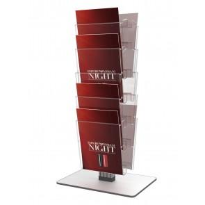 Obrotowy dwustronny stojak na ulotki 8 kieszeni A4 pionowo z drwenianą podstawą  Art 3086B