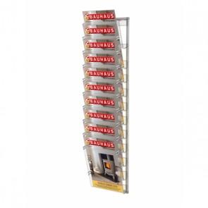 Prezenter na ulotki zestaw 10 kieszeni A4 pionowo na ścianę art 219