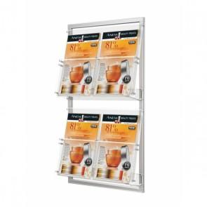 Prezenter ulotek na ramce do ściany 2 kieszenie A4 poziomo na ulotki A4 A5 DL Art.2341