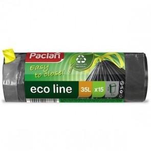 Worki na śmieci Paclan eco line ,  z taśmą 35L , 15 sztuk.