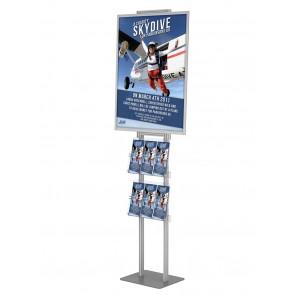 Składany stojak / prezenter plakatu B2 na statywie + 2 kieszenie A4 poziomo na ulotki A4 i DL Art 513