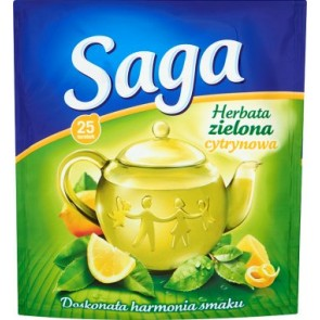 Herbata ekspresowa Saga Zielona z cytryną. 25 szt.