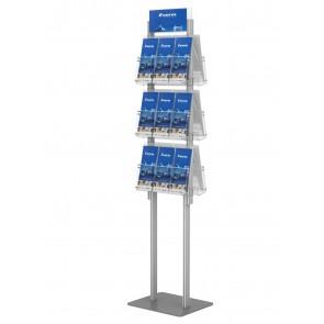 Dwustronny składany stojak na ulotki 3 kieszenie A4 poziomo ( ulotki A4 A5 i DL ) Art 428