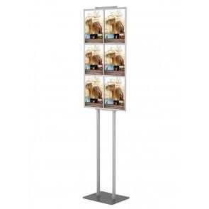 Składany stojak na ulotki / prezenter wolnostojący na ramce 6 kieszeni A4 poziomo (ulotki A4,A5 i DL )  Art 446