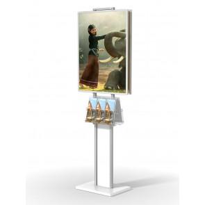 Stojak / prezenter składany dwustronny na plakat B2 na statywie+2 kieszenie A4 poziomo na ulotki A4,A5 i DL Art 372 Biały