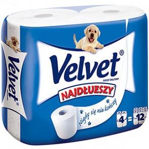 Papier toaletowy VELVET najdłuższe rolki 4 szt.